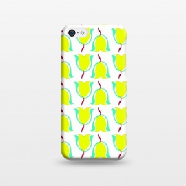 iPhone 5C  Tulips de Chartreuse by Bettie * Blue (tulips,flowers,floral,spring,yellow,pattern,modern,contemporary)