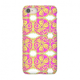iPhone 7 SlimFit The Spirit of the Flower by Bettie * Blue (spiritual,mandala,flower,floral,pattern,pink,pink and yellow)
