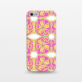 iPhone 5/5E/5s  The Spirit of the Flower by Bettie * Blue (spiritual,mandala,flower,floral,pattern,pink,pink and yellow)