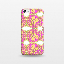iPhone 5C  The Spirit of the Flower by Bettie * Blue (spiritual,mandala,flower,floral,pattern,pink,pink and yellow)