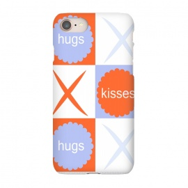 iPhone 7 SlimFit X's & O's -Orange/Lavender by Bettie * Blue (kiss, hug,x & o,tic tac toe,purple,orange,graphic,typograpy,love)