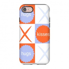 iPhone 7 StrongFit X's & O's -Orange/Lavender by Bettie * Blue (kiss, hug,x & o,tic tac toe,purple,orange,graphic,typograpy,love)