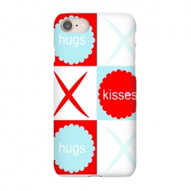 iPhone 7 SlimFit Hugs & Kissies by Bettie * Blue (love,kisses,hugs,red,blue,x and o,hugs and kisses,tic tac toe,graphic,i love you,red white and blue,red and blue,red and aqua)