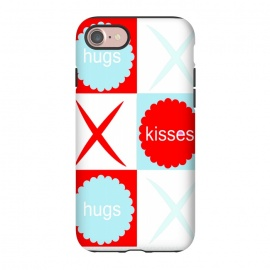 iPhone 7 StrongFit Hugs & Kissies by Bettie * Blue (love,kisses,hugs,red,blue,x and o,hugs and kisses,tic tac toe,graphic,i love you,red white and blue,red and blue,red and aqua)