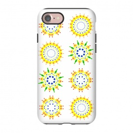 iPhone 7 StrongFit Springtime  by Bettie * Blue (spring, mandala,geometric,colorful,yellow,flowers,pattern,happy,joy,fun)