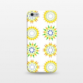 iPhone 5/5E/5s  Springtime  by Bettie * Blue (spring, mandala,geometric,colorful,yellow,flowers,pattern,happy,joy,fun)