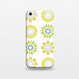 iPhone 5C  Springtime  by Bettie * Blue (spring, mandala,geometric,colorful,yellow,flowers,pattern,happy,joy,fun)