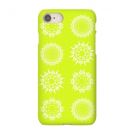 iPhone 7 SlimFit Oh Chartreuse! by Bettie * Blue (mandala,chartreuse,green,spring,flowers,geometric,floral,happy)