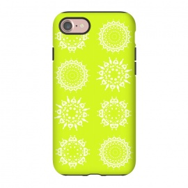 iPhone 7 StrongFit Oh Chartreuse! by Bettie * Blue (mandala,chartreuse,green,spring,flowers,geometric,floral,happy)