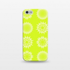 iPhone 5/5E/5s  Oh Chartreuse! by Bettie * Blue (mandala,chartreuse,green,spring,flowers,geometric,floral,happy)
