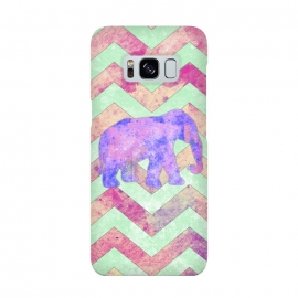 Galaxy S8  Elephant Mint Green Chevron Pink Watercolor by Girly Trend