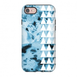 iPhone 8/7  Marble triangles by Laura Grant (marble,triangles,geometric,pattern,blue)