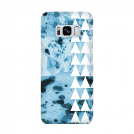 Marble triangles by Laura Grant (marble,triangles,geometric,pattern,blue)