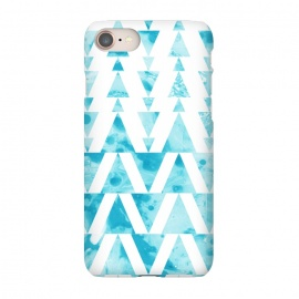 iPhone 8/7 SlimFit Marble triangles 2 by Laura Grant (marble,triangle,geometric,blue)