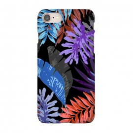 iPhone 7 SlimFit Tropical Vibes 1 by MUKTA LATA BARUA (tropical,leaves,patterns,graphic,design,digital,vector,black,nature,botanical)