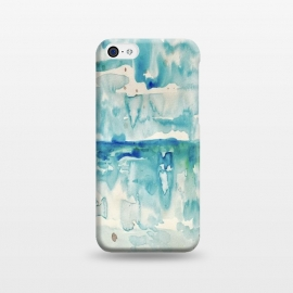 iPhone 5C  Miami Beach Watercolor #2 by ANoelleJay (miami beach,beach,ocean,sea,sand,clouds,sky,blue)