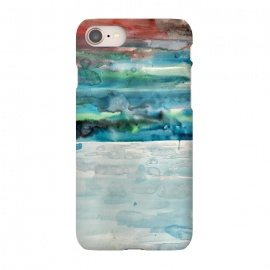 iPhone 7 SlimFit Miami Beach Watercolor #5 by ANoelleJay (red,sunset,sunrise,sky,blue,ocean,sea,beach,sand,water)