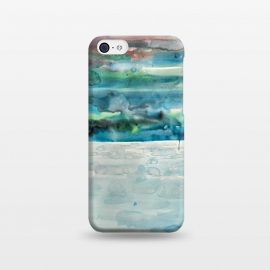 iPhone 5C  Miami Beach Watercolor #5 by ANoelleJay (red,sunset,sunrise,sky,blue,ocean,sea,beach,sand,water)