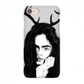 iPhone 7 SlimFit Cara by Roland Banrévi (girl,deer,vector,woman,beauty,portrait,black and white)