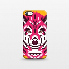 iPhone 5C  Geometric wolf by Roland Banrévi (wolf,animal,animals,geometry,magenta,vector,portrait)
