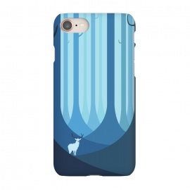 iPhone 7 SlimFit Blue forest by Roland Banrévi (animal,animals,forest,trees,vector,deer,alone)
