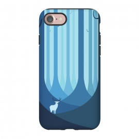 iPhone 8/7  Blue forest by Roland Banrévi (animal,animals,forest,trees,vector,deer,alone)