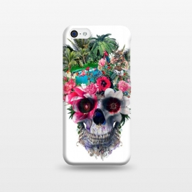 iPhone 5C  Summer Skull III by Riza Peker (floral,skulls,summer,colors,tropical,surreal,art,design,rizapeker)