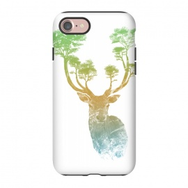 iPhone 8/7  Stag by Rui Faria (stag,deer,paint,ink,watercolor,trees,forest,abstract)