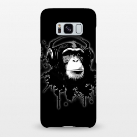 Galaxy S8+  Monkey Business - Black by Nicklas Gustafsson (chimp,monkey,chimpanzee,ape,animal,music,headphones,butterflies,butterfly,spatter,graffiti)