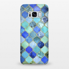 Galaxy S8+  Cobalt Blue Aqua and Gold Decorative Moroccan Tile Pattern by Micklyn Le Feuvre ()