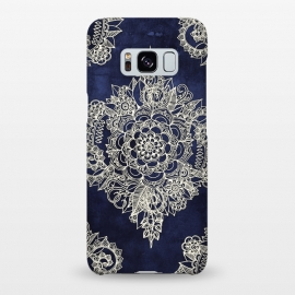 Galaxy S8+  Cream Floral Moroccan Pattern on Deep Indigo Ink by Micklyn Le Feuvre ()