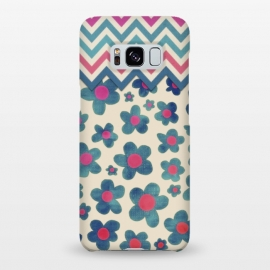 Galaxy S8+  Happy Teal Vintage Daisies on Cream by Micklyn Le Feuvre ()