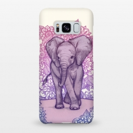 Galaxy S8+  Cute Baby Elephant in pink purple and blue by Micklyn Le Feuvre ()