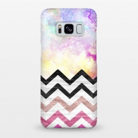 Galaxy S8+  SC Watercolor Nebula Space Pink ombre Wood Chevron by Girly Trend ()