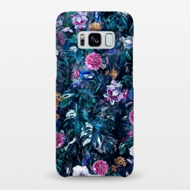 Galaxy S8+  Floral Pattern VII by Riza Peker (Botanical,flowers,tropical,dark,art,RizaPeker)