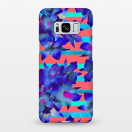 Galaxy S8+  Coral Stripes by Amaya Brydon (orchid,floral,pattern,coral,botanical,tropical)