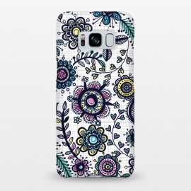 Galaxy S8+  linea floral by Laura Grant (floral,flower,pattern,doodle,multi colour)