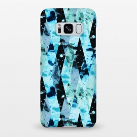 Galaxy S8+  Marble diamonds by Laura Grant (marble,blue,geometric,diamond)