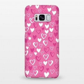 Galaxy S8+  Pink Lovehearts by Kimrhi Studios (Pink,Hearts,loveheart,valentines,romance)