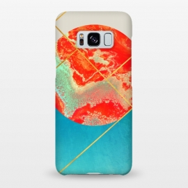 Galaxy S8+  Earth & Sea by Uma Prabhakar Gokhale (graphic design, watercolor, other, abstract, concept, marble, coral, paper marble, exotic, geometric, blue, gold, golden, metallic)