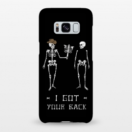 Galaxy S8+  Got Your Back by Grant Stephen Shepley (skeleton,parody,pun,funny,joke,humour,words,slogan,dark,black,white)