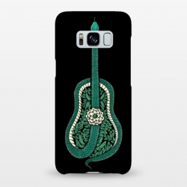 Galaxy S8+  Snake Guitar by Coffee Man (guitar,snake,music,floral,nature,leave,funny,cool,wild,animal,reptil,serpiente,guitarra,green)