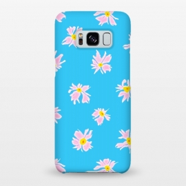 Galaxy S8+  Pink Snow & Sky by Bettie * Blue (daisies, daisy, flowers, floral, pattern,pink,blue, sky,feminine,happy,bright colors)
