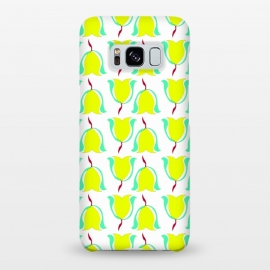 Galaxy S8+  Tulips de Chartreuse by Bettie * Blue (tulips,flowers,floral,spring,yellow,pattern,modern,contemporary)