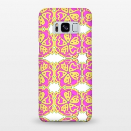 Galaxy S8+  The Spirit of the Flower by Bettie * Blue (spiritual,mandala,flower,floral,pattern,pink,pink and yellow)