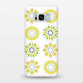 Galaxy S8+  Springtime  by Bettie * Blue (spring, mandala,geometric,colorful,yellow,flowers,pattern,happy,joy,fun)