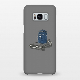 Galaxy S8+ SlimFit Stuck in the future by Xylo Riescent (robo rat,tardis,DeLorean,back to the future,doctor who,movies,mash up,funny,cool,phone booth,car,awesome,gray)