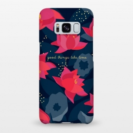 "Galaxy S8+  Midnight Flowers - ""Good things take time"" by Stefania Pochesci (Floral,pattern,blue,pink,night,midnight,nocturne,quote,inspirational)"