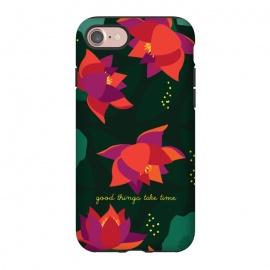 iPhone 7  Midnight Flowers - Green by Stefania Pochesci