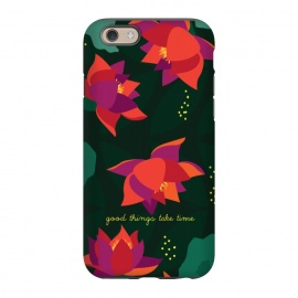 iPhone 6/6s  Midnight Flowers - Green by Stefania Pochesci